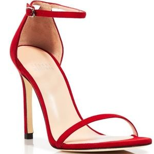 Missguided Red Square Toe Ankle Strap Sandal Heels